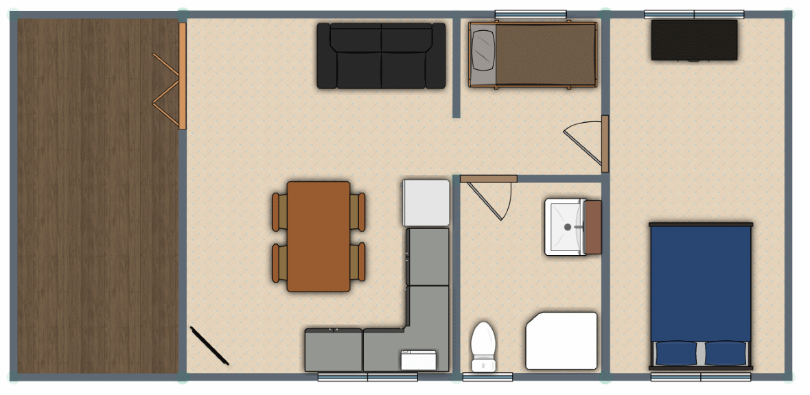 1 Bed Cabin Floor Plan