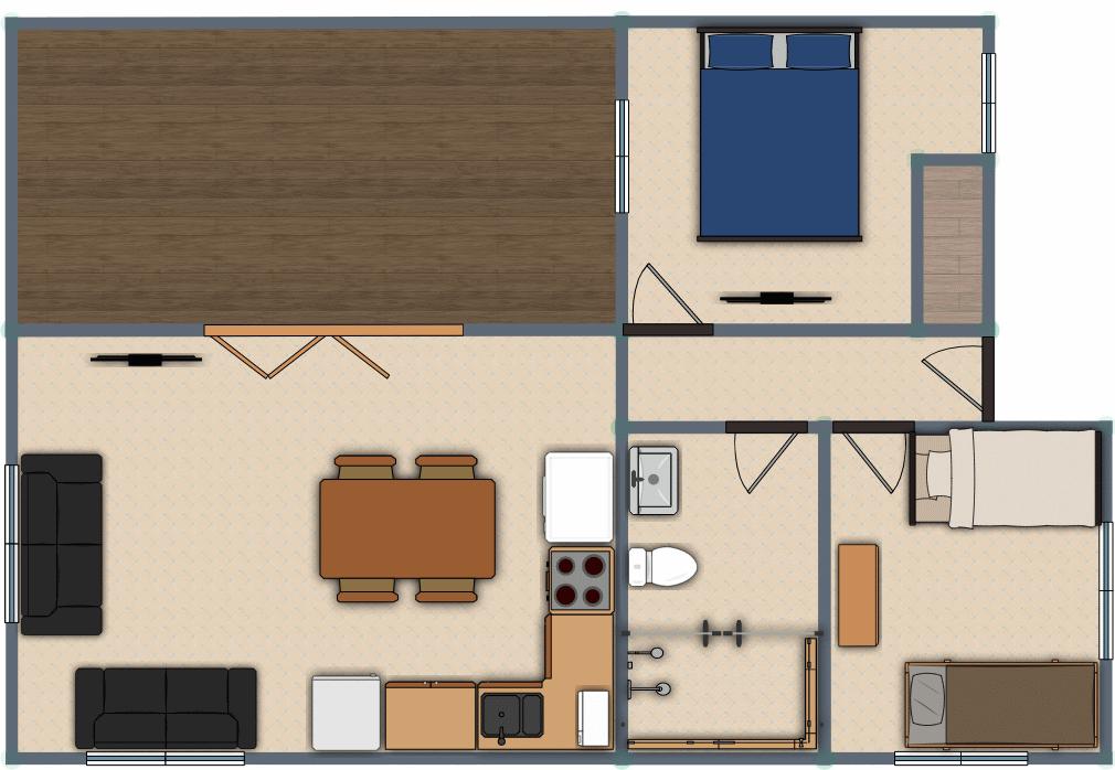 Luxury 2 Bed Villa Floor Plan
